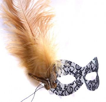 Burlesque style masquerade black lace & Gold feathered mask